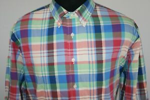 Jos-A-Bank-Mens-Tailored-Fit-Long-Sleeve-Button-Front-Shirt-Size-XL-Plaid
