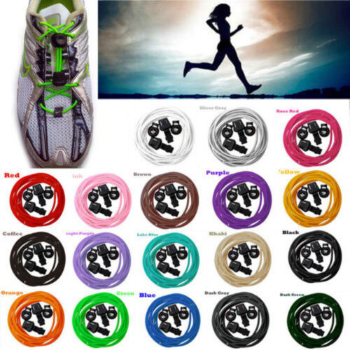 1Pair Elastic No-Tie Locking Shoe Laces Shoelaces With Buckles For Sport Shoes