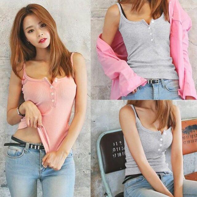 Women Summer Slim Tank Top Sleeveless Button Elastic Party Casual Blouse--