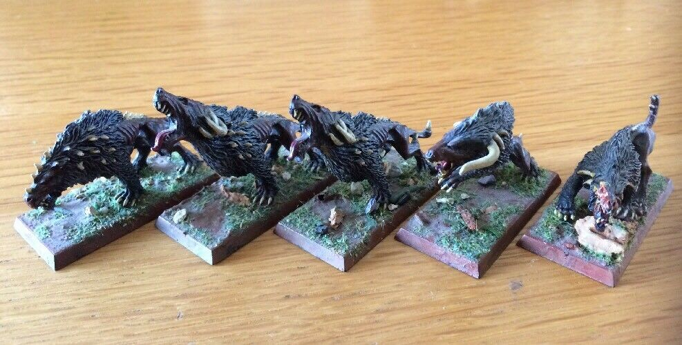 Warhammer AOS Metal Miniatures Beasts Of Chaos Warhounds PRO Painted Lot Of 5