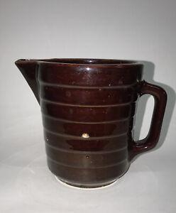 Vintage Brown glazed USA Crock stoneware pitcher pottery ribbed pattern
