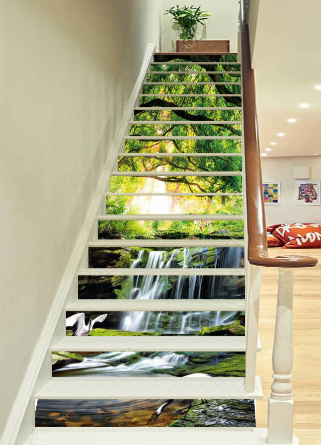 3D Waterfall tree Stair Risers Decoration Photo Mural Vinyl Decal Wallpaper AU
