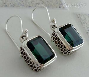 Green-Quartz-Solid-Silver-925-Balinese-Traditional-Design-Earring-35242