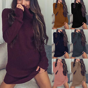 Women-Knitted-Turtleneck-Sweater-Long-Sleeve-Jumper-Mini-Dress-Pullover-Knitwear