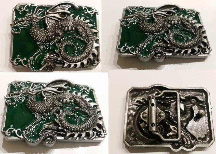 ✖ impresionante Dragon em Verde Antiguo Color Plateado hebilla de cinturón de Full Metal vendedor de Estados Unidos
