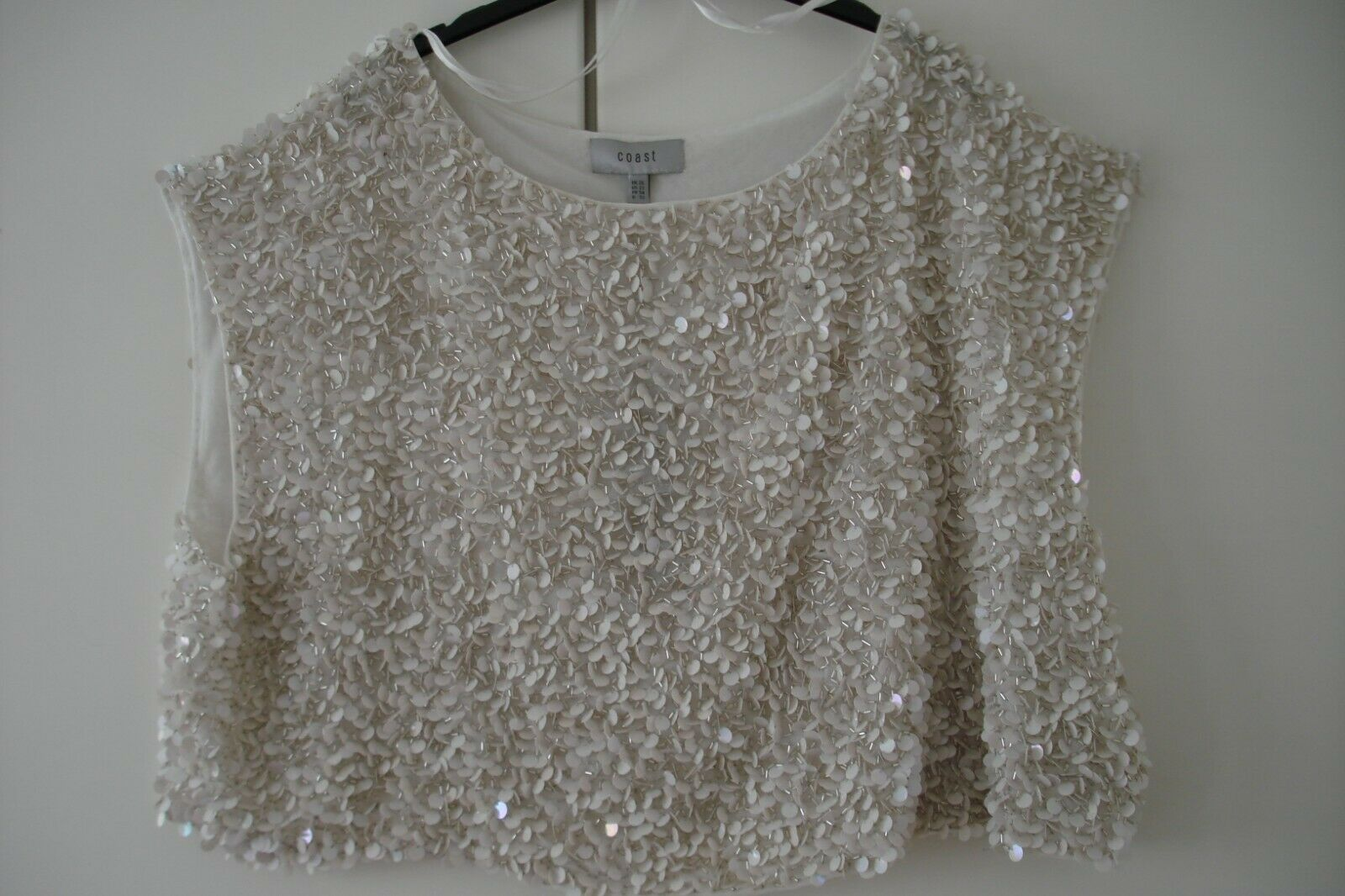 COAST SULETTA IVORY SEQUINS TOP SPECIAL OCCASION PARTY UK LARGE Größe 26 PLUS