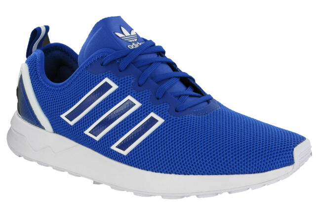 c7819b2b6a175 Adidas ZX Flux ADV Trainers Running Sports Mesh Blue Mens Heel Cage S79007