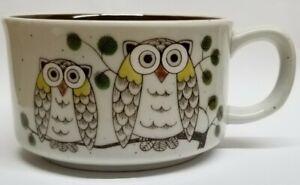 Otagiri-Japan-OWLS-Soup-Cereal-Bowl-Mug-w-Handle-Speckled-Stoneware-New-Vtg-Mod