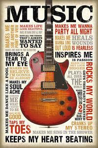 Details Zu Music Is Passion Poster Gitarre Sprüche Zitate Vintage Retro 61 X 915 Cm