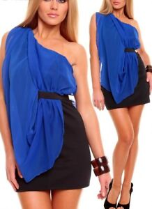 Sexy-Miss-Ladies-One-Shoulder-Double-Chiffon-Mini-Dress-XS-S-Blue-New-Top