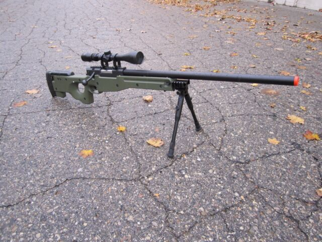 One AIrSoft Green WELL Tactical L96 AWP Airsoft Sniper Rifle W/ Scope + Bipod
