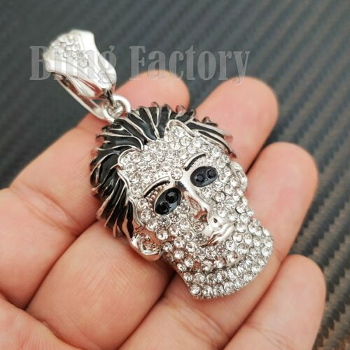 Details about  /Hip Hop Rapper/'s Silver Plated Lab Diamond Iced Michael Myers Mask Charm Pendant