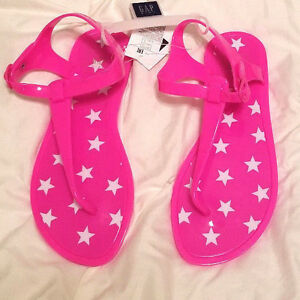 3b38856be805 Image is loading NWT-Gap-Girl-neon-Pink-Stars-Jelly-Sandals-