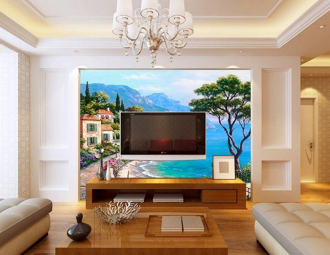 3D Mare, casa 5 Parete Murale Foto Carta da parati immagine sfondo muro stampa