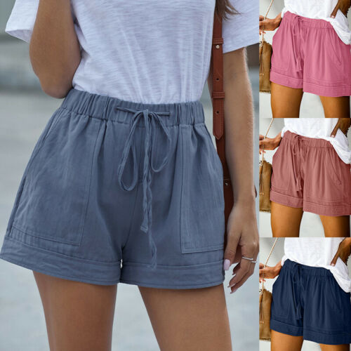 Plus Size Women/'s Summer Elastic Waist Shorts Ladies Baggy Shorts Trousers Pants