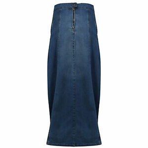 Women-039-s-Ladies-Full-Length-Denim-Maxi-Skirt-2-Side-Pockets-8-10-Discount-Price
