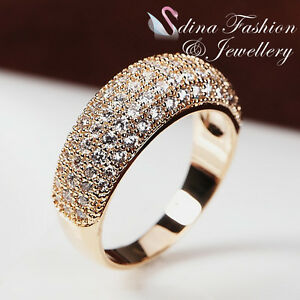Image Is Loading 18K Rose Gold Plated Diamond Studded Luxury Engagement