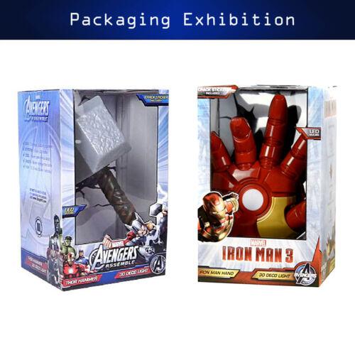 Marvel Avengers Thor Hammer MJOLNIR Iron Man Hand 3D Deco Wall LED Night Light