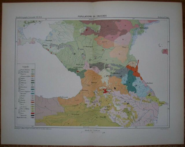 1881 Reclus map POPULATIONS OF CAUCASUS (#2)