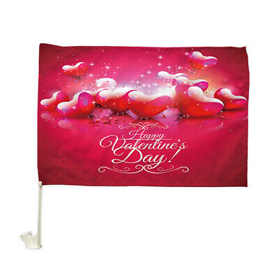 """Details about  /Red Heart Blessing Car Flag Car Window Car Culture Auto Flag 12/"""" X 18/"""""""