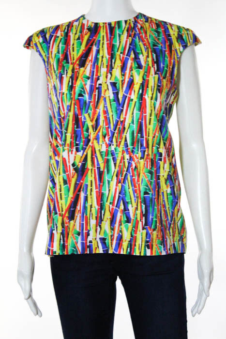 Stella Jean Multi-Farbe Cotton Abstract Print Sleeveless Top Größe IT 40