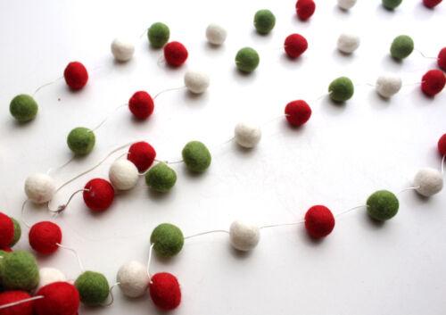 Blanc et Vert POMPON FEUTRE boules de Noël Guirlande pendaison décoration Rouge