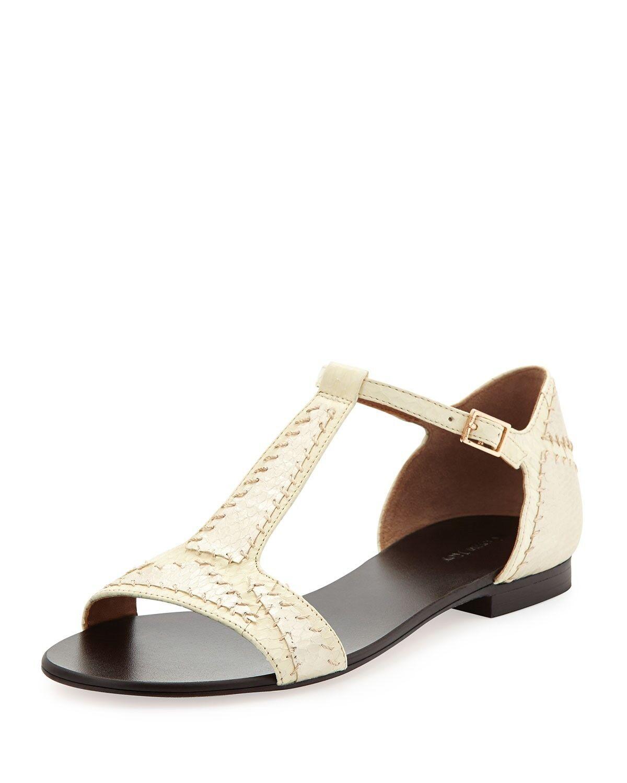 Retail 250 Rachel Roy WEISS Camila Snake-Embossed Leder T-Strap Sandale Sz 6.5