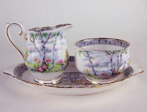 Small-Cream-Open-Sugar-Bowl-Oval-Regal-Tray-Royal-Albert-Silver-Birch-vintage