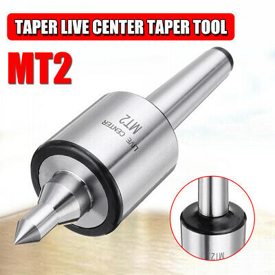 0.01 MM Woodworking Steel Morse Taper Center MT2 Live Center Taper,Heavy Duty CNC Lathe High Speed Revolving Bearing Tailstock Turning Tool Replacement