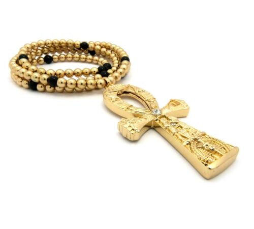 "Hip Hop Ankh Egyptian Cross of Life Pendant 6mm 30/"" Ball Bead Necklace"