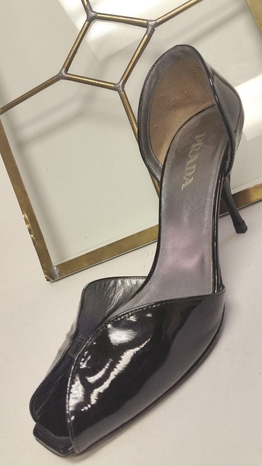 Prada Women's SZ 37 6.5 Black Black 6.5 Patent Leather Peep Toe Stilleto High Heel Pump 6f28f5