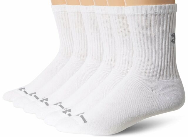 2 Colors 6 Pairs Under Armour Men/'s Charged Cotton Crew Socks