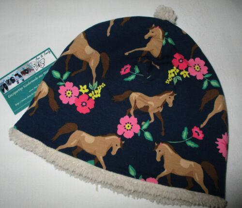 SONDERPREIS !süße Beanie Wintermütze 48 50 52 54 PFERDE-PONYS Jersey Teddyplüsch