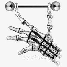 """14G-3/4"""" (19mm) Right Skeleton Hand 316L Surgical Steel Barbell Nipple Shield"""