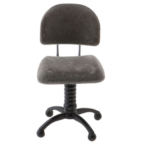 1//12 Silver Revolving Chair Desk Chair for Dollhouse Mini Figures Accessory