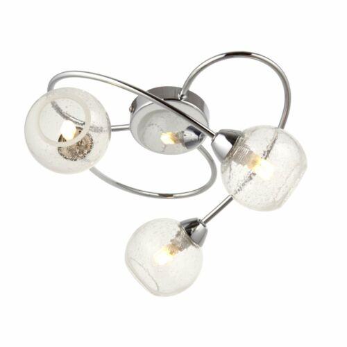 Moderne Chrome semi 3 Lumière Plafonnier Clair Bulle globes en verre Unique Paire