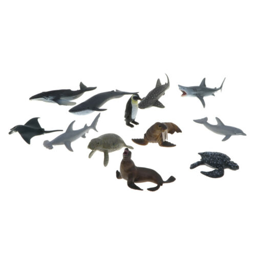 Lot 12pcs Plastic Marine Animal Model Figure Kids Toys Shark Whale Manta Ray