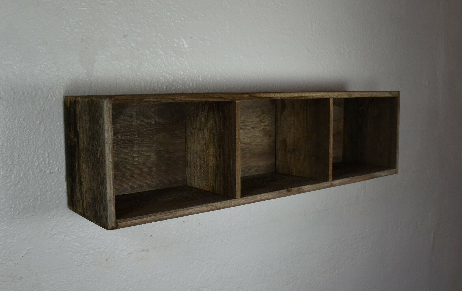 Shadow Box Wall Shelf Reclaimed Wood Rustic 23x6 1 2 Or 3 Cubbies 4 Or 5 Deep