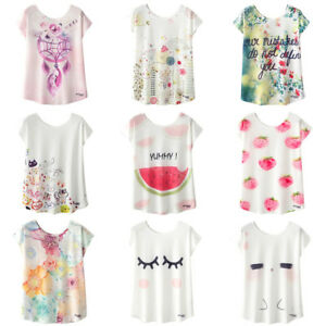 Women-Summer-Tees-Blouse-Kawaii-Cute-Printed-T-shirt-Loose-Short-Sleeve-Tops-L
