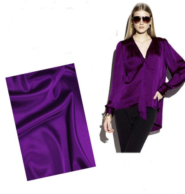 AF-39 Purple W 1.1* L 1 M DIY Handmade Silk Stretch Satin Clothing Fabric