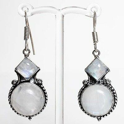 925 Antique Silver Semi-Precious Natural Round Moonstone Earrings