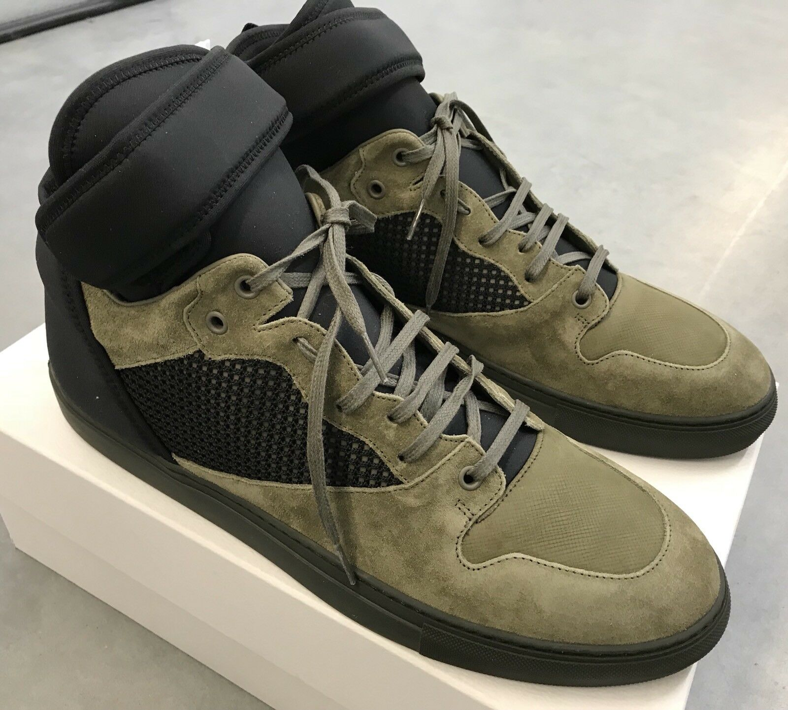 800  Balenciaga Olive Suede High Tops 47  size US 14, EU 47 Tops Made in Italy 8b5ae2