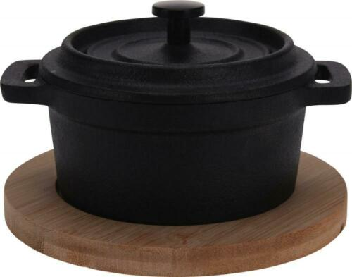 Cast Iron Tapas Serving Dish with Lid /& Wooden Base