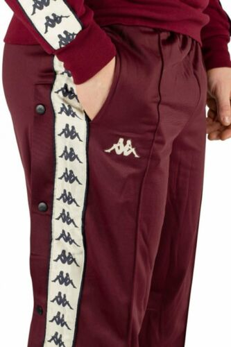 Dark Red Damson// Light Beige Kappa Authentic Astoria Snap Pants