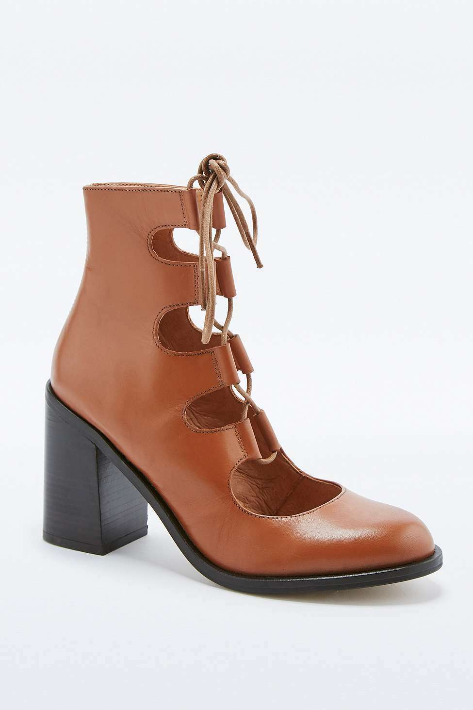 Urban Outfitters Deena & Ozzy Krista Tan Lace-Up Flare Heels - Brown - UK 7