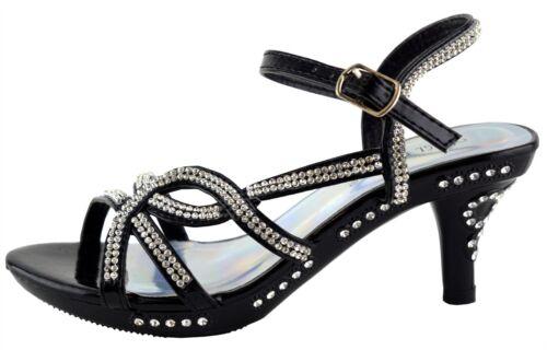 Girls Sandals Stiletto Mid Heel Ankle Strap Platform Wedding Evening Shoes Size