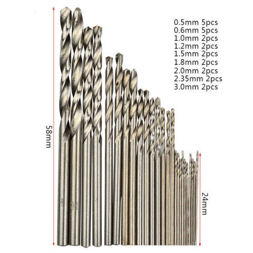25pc Mini Micro Foret Acier Rapide Set pour Métal Bois Précision Forage 0.5