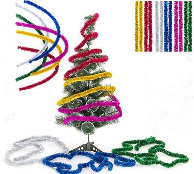 New Shining 2.3M Tinsel Garland Christmas Tree Decoration Metallic Foil Colorful