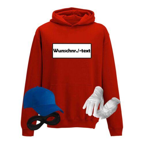 Hoodie Panzerknacker Kids Wunschnummer Kostüm-Set Karneval Kinder XS-XL 98-152