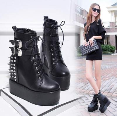 US Fashion Rivet Punk Chunky Heel Boots Women Platform Round Toe Lace Up Shoes